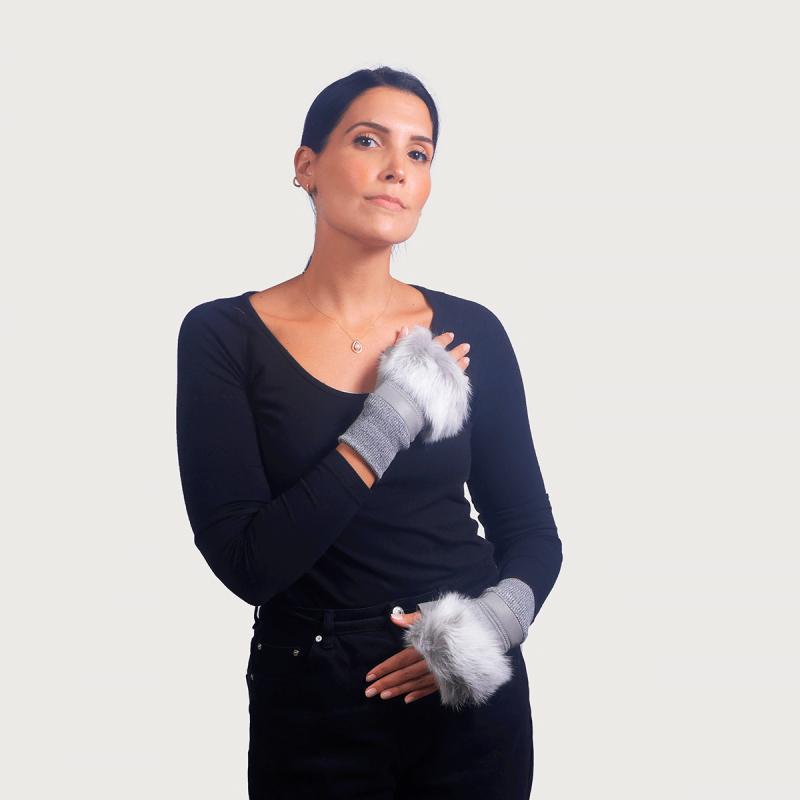 Γάντια μισά (γάντι δέρμα - μανσέτα lapin/wool) γκρί