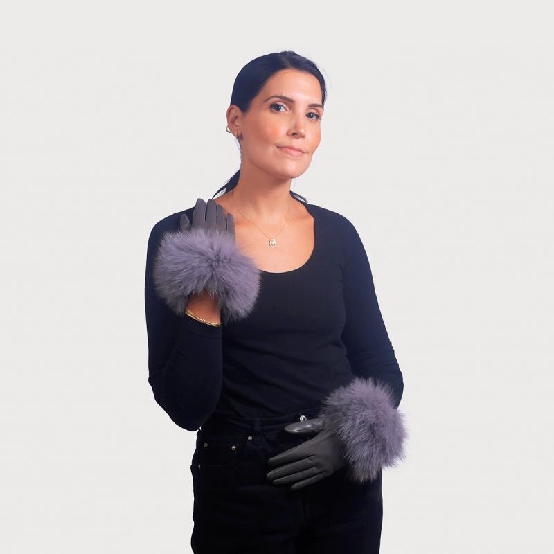 Γάντια meg (γάντια δέρμα - μανσέτα renard) γκρί