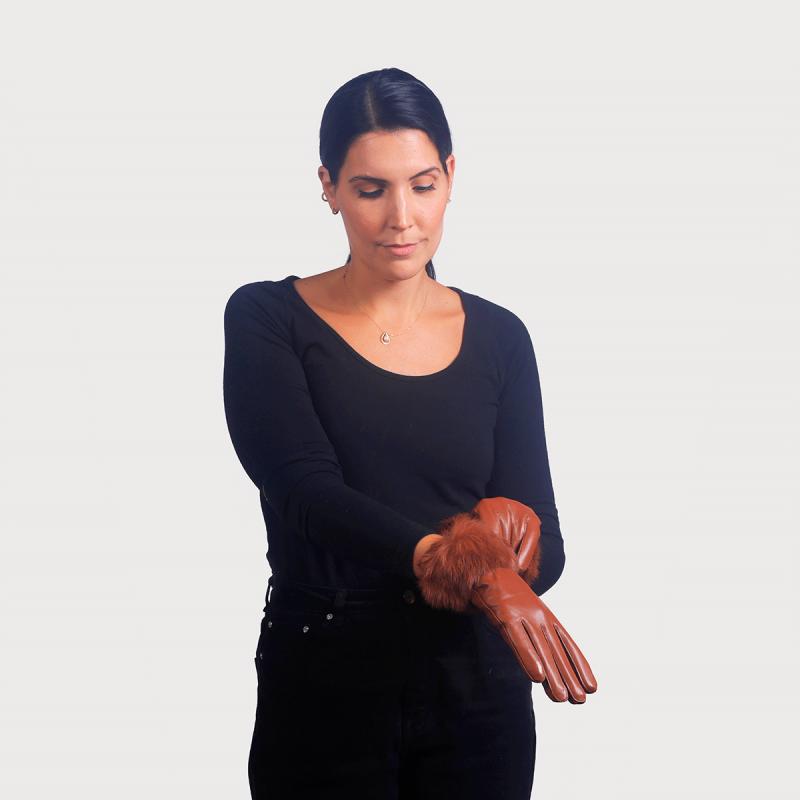 Γάντια δέρμα μανσέτα lapin ταμπά