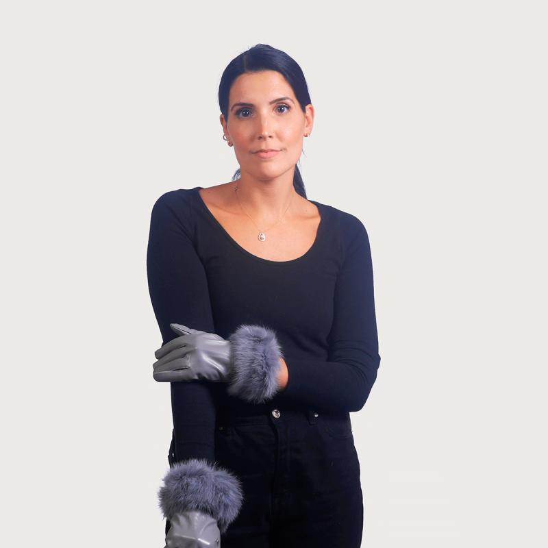 Γάντια δέρμα μανσέτα lapin γκρί