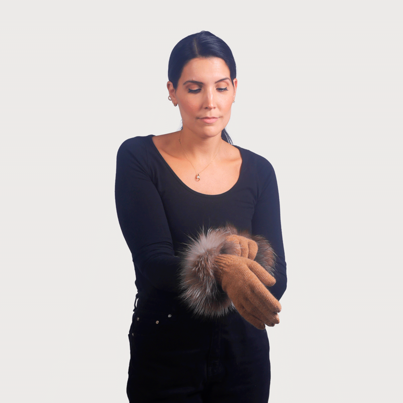 Γάντια μαλλί μανσέτα renard καμηλό