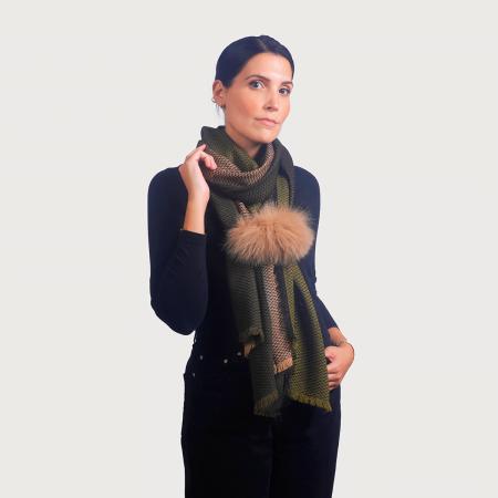 Κασκόλ καρό κούμπωμα renard / πράσινο κασκόλ με μπεζ γούνα