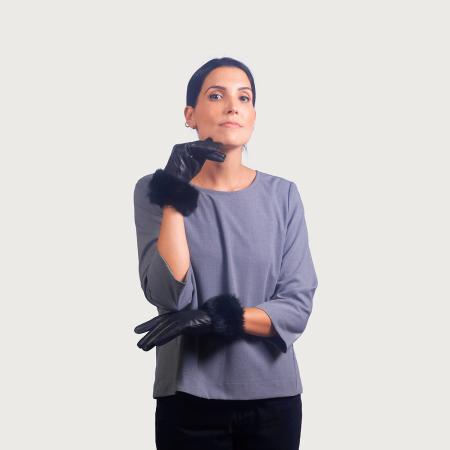 Γάντια δέρμα μανσέτα lapin μαυρό