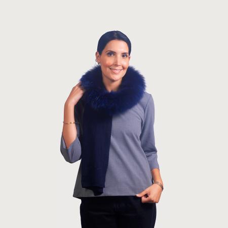 Κασκόλ cashmere / wool renard μπλέ
