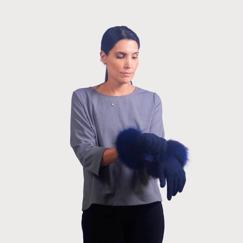 Γάντια μαλλί μανσέτα renard blue navy