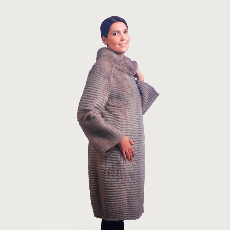 Παλτό vison ριγέ κολιέ γιακάς