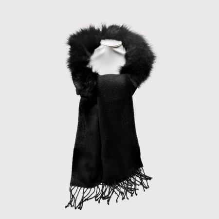 Κασκόλ κλασσικό γούνα  μαύρο