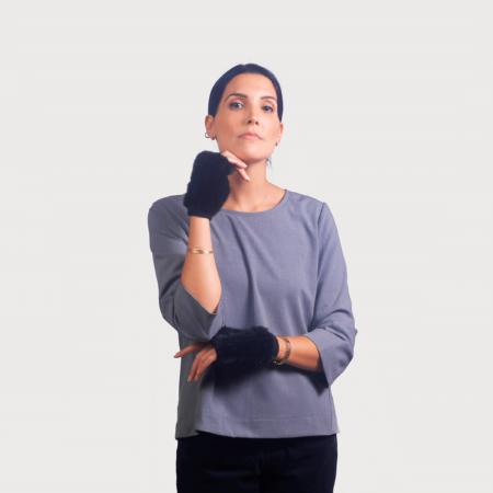 Γάντια μισά vison μαυρό