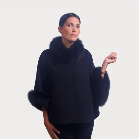 Kάπα wool cashmere με λεπτομέρειες renard | Mαύρο