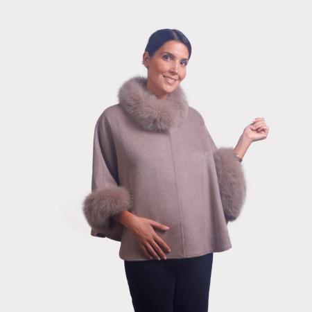 Kάπα wool cashmere με λεπτομέρειες renard | Nude