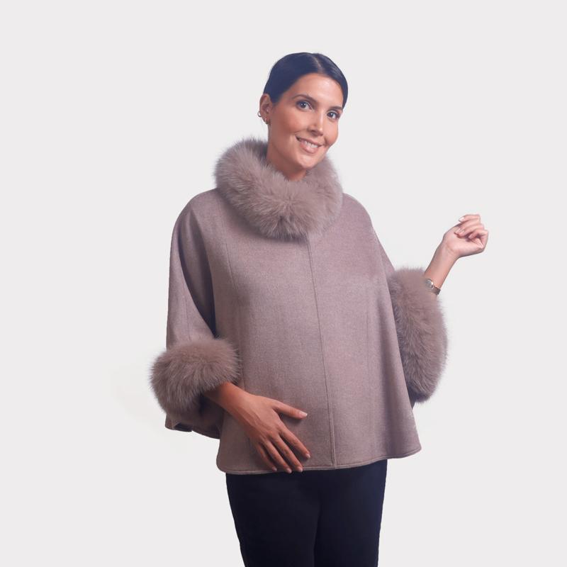 Kάπα wool cashmere με λεπτομέρειες renard   Nude