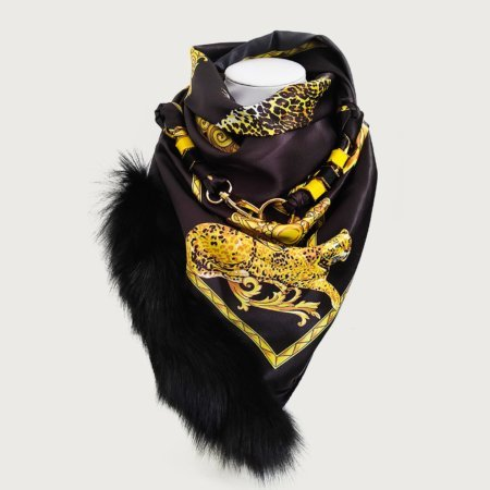 Μαντήλι κλιπ pearl-gold square μαύρο-χρυσό