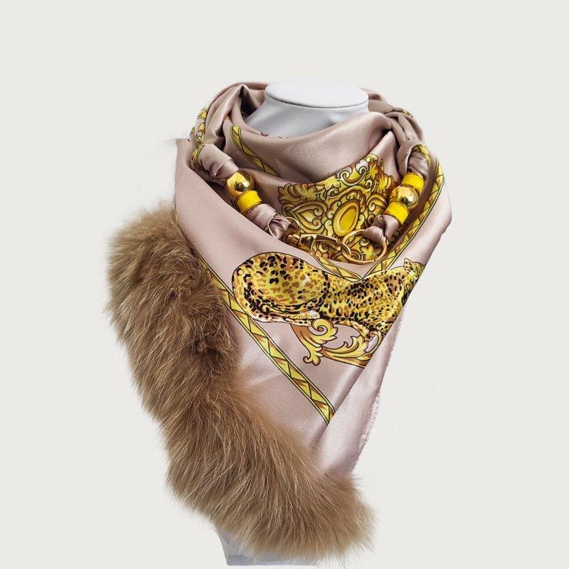 Μαντήλι κλιπ pearl-gold square μπεζ χρυσό
