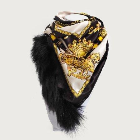 Μαντήλι κλιπ pearl-gold square μαύρο μπεζ